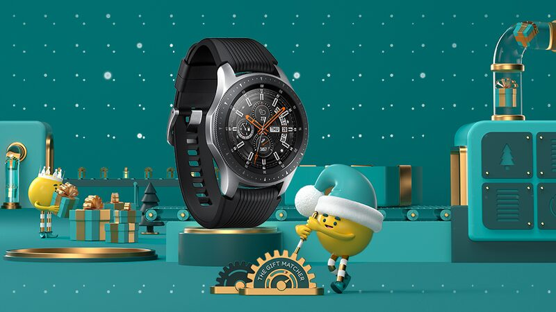 Samsung Galaxy Watch 4G on a Christmas background