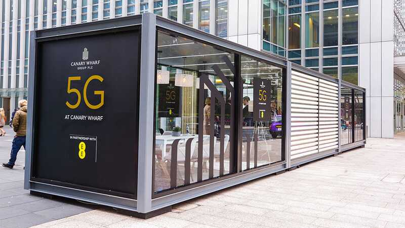 5G trial pod in Canary Wharf, London