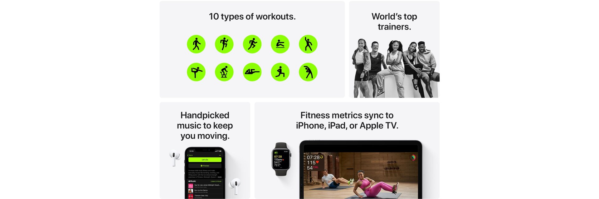 Apple Fitness+ Overview showing the benefits of the service.