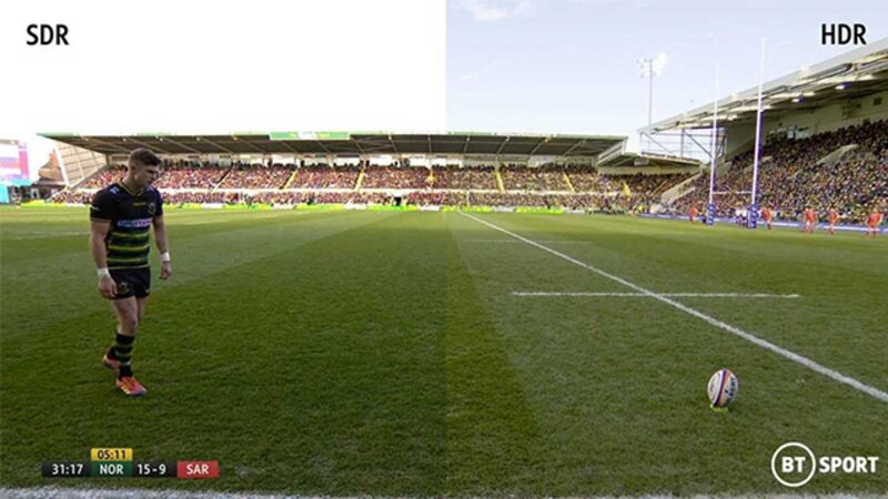 SDR and HDR content side by side - footage of a rugby match