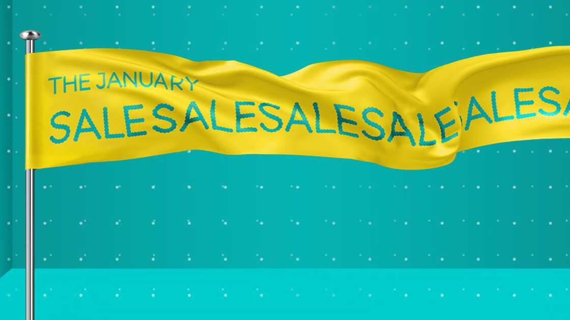 Yellow Jan sales banner on an aqua background