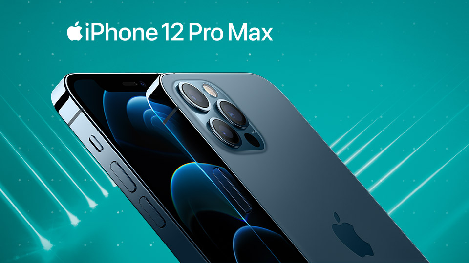 iPhone 12 Pro Max in Blue with spotlights around it
