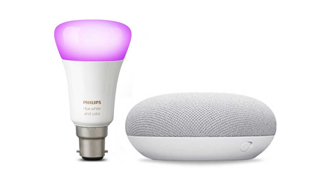 Google Nest Mini and Philips Hue Colour Changing B22 Bulb