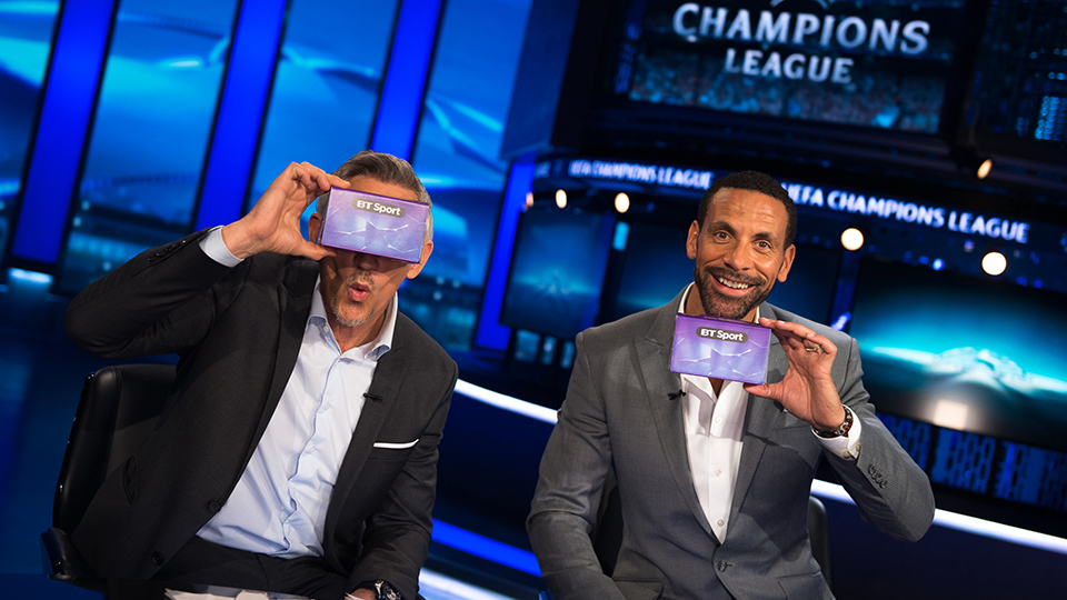 Gary Lineker and Rio Ferdinand in a TV studio