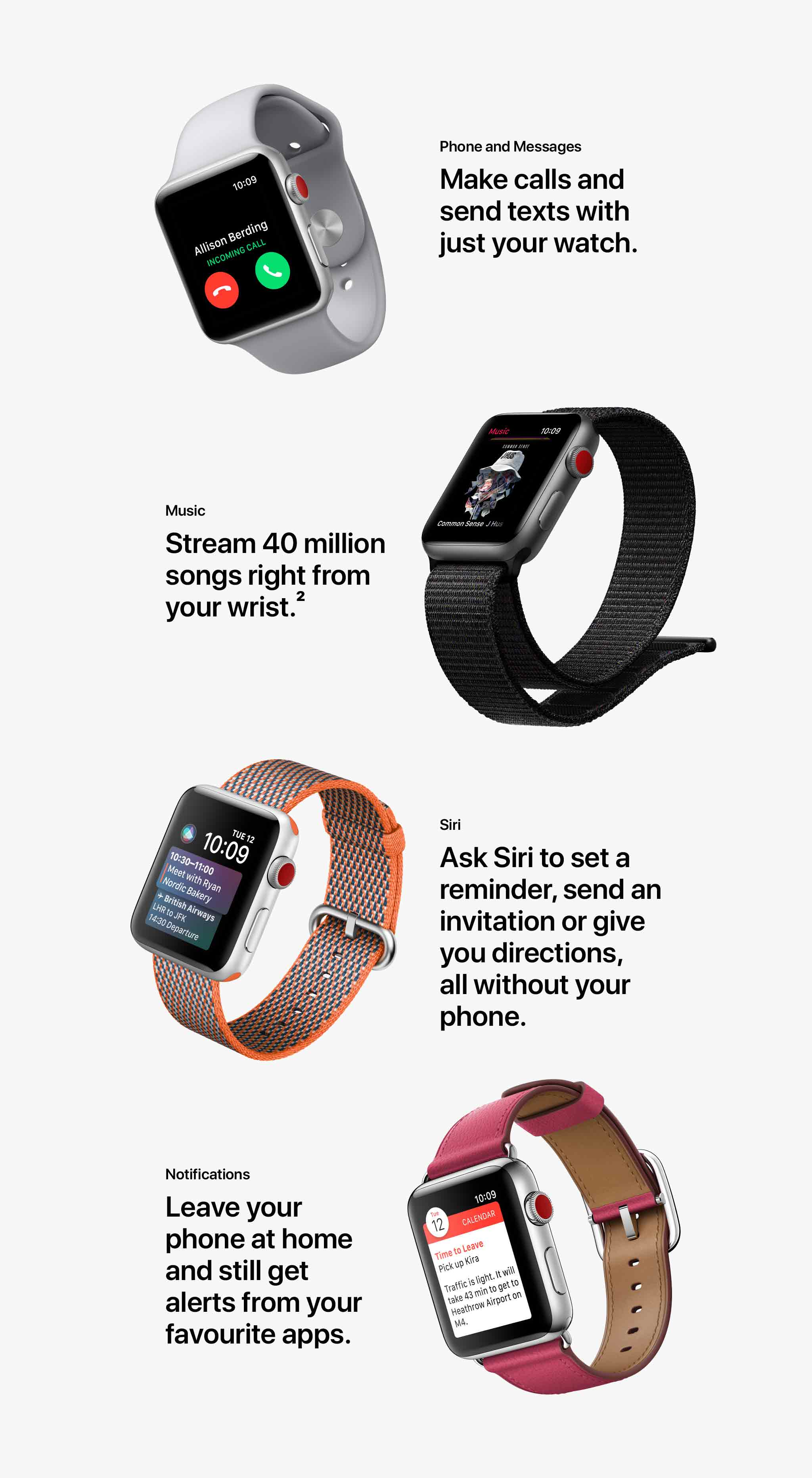 Apple Watch Series 3 messages and music features