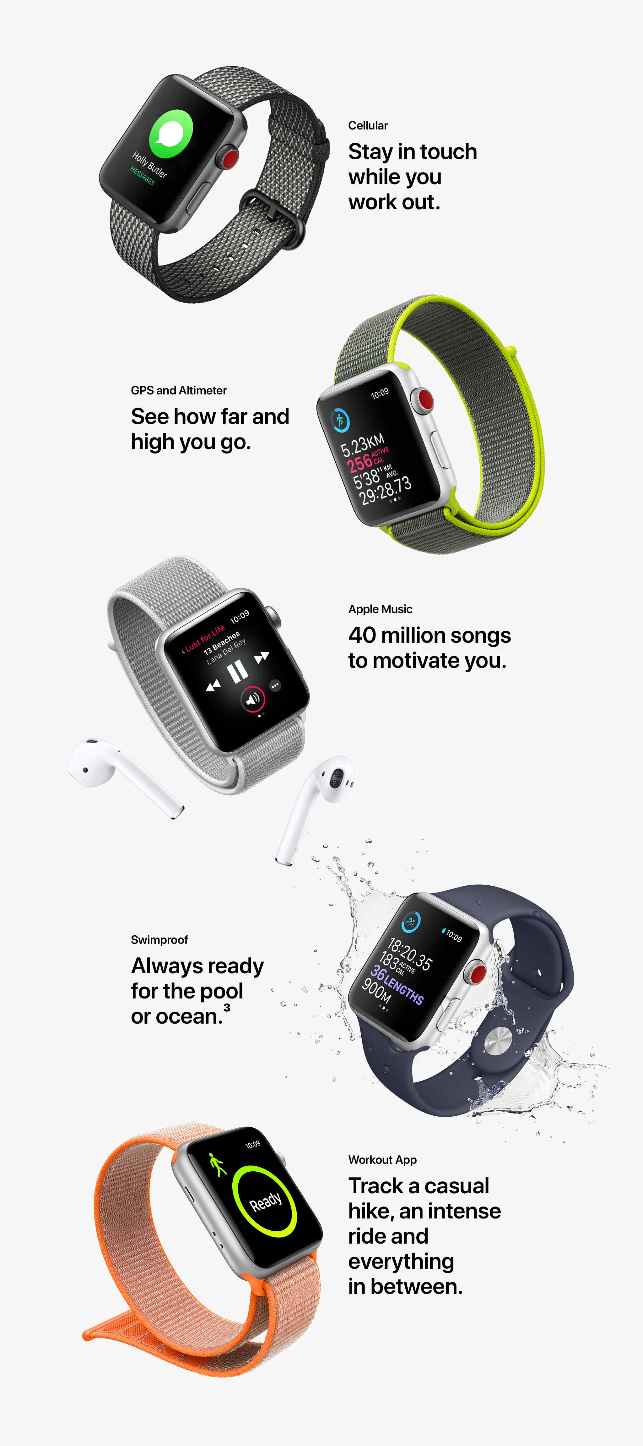 Apple Watch Series 3 workout features