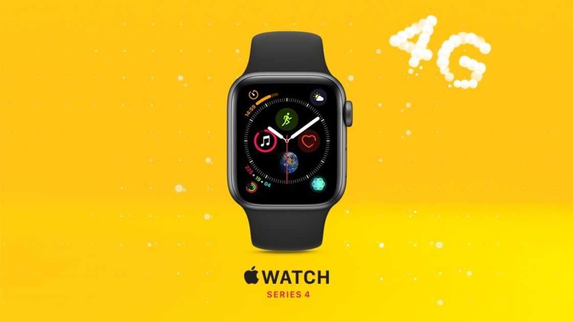New Apple Watch series 4 on EE on yellow background