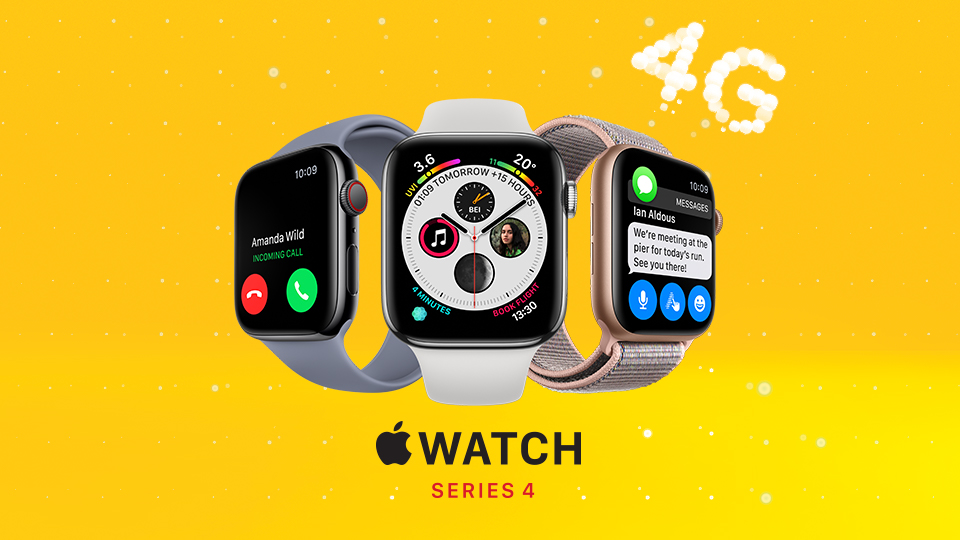 Three images of the Apple Watch Series 4 each with a different watch face