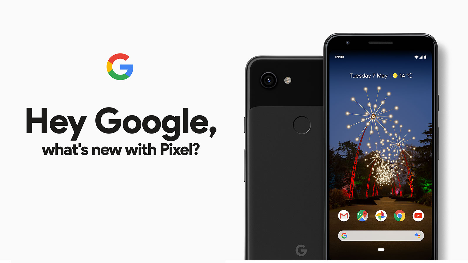 Googel Pixel 3a XL Just Black rear and front view of the smartphone