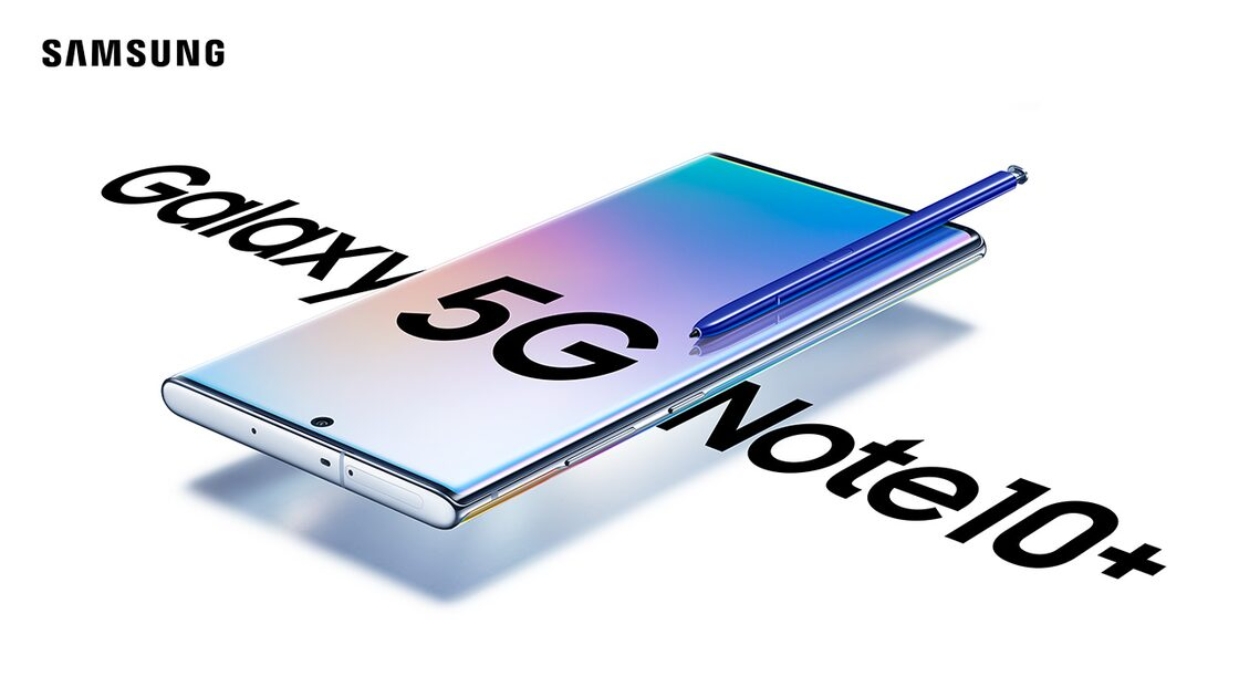 Samsung Galaxy Note10+ 5G in white with stylus pen