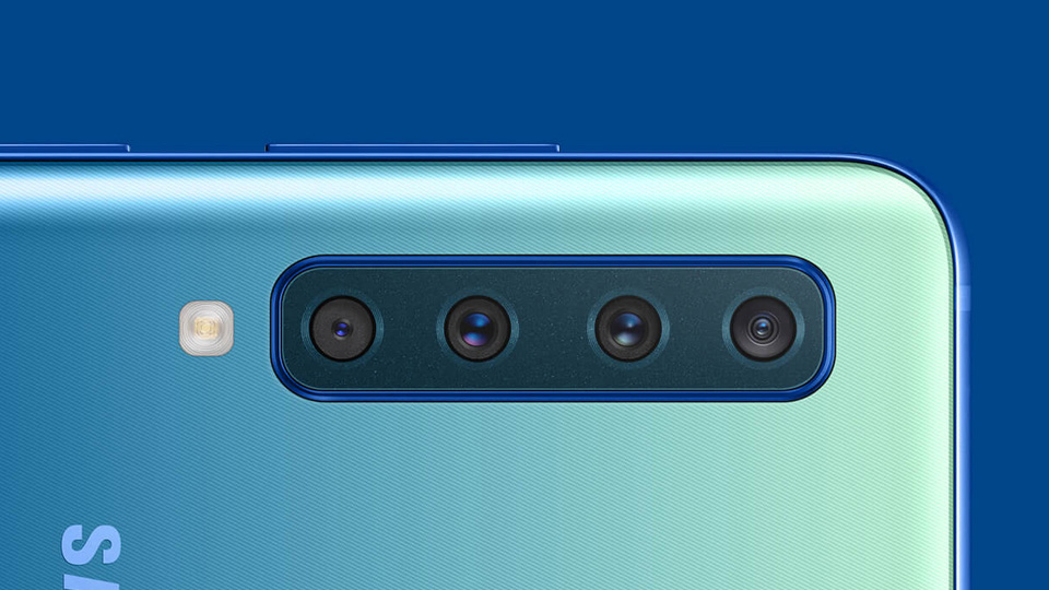 the rear four cameras on the Samsung Galaxy A9