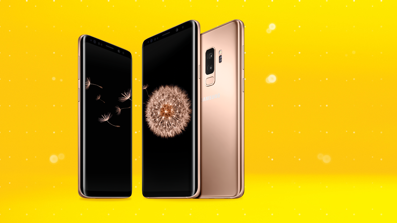 Samsung Galaxy S9 and S9+ in Gold on yellow background