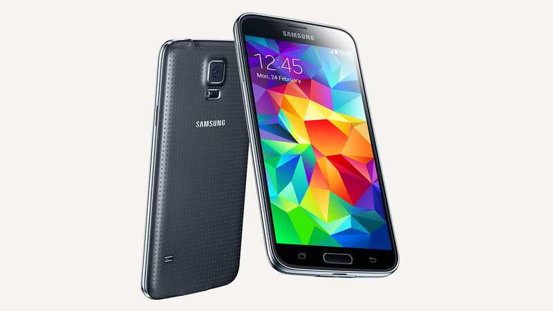 Samsung Galaxy S5 Charcoal Black, back and front views