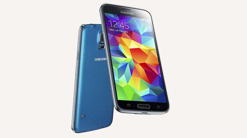 Samsung Galaxy S5 Electric Blue, back and front views