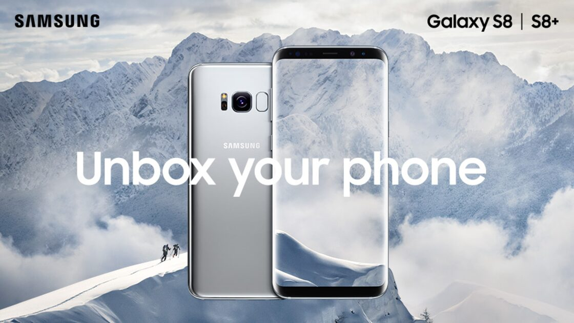 Samsung Galaxy S8 in silver, unbox your phone