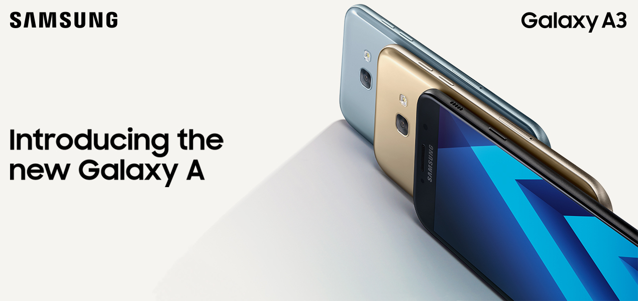 Samsung Galaxy A3 in different colours