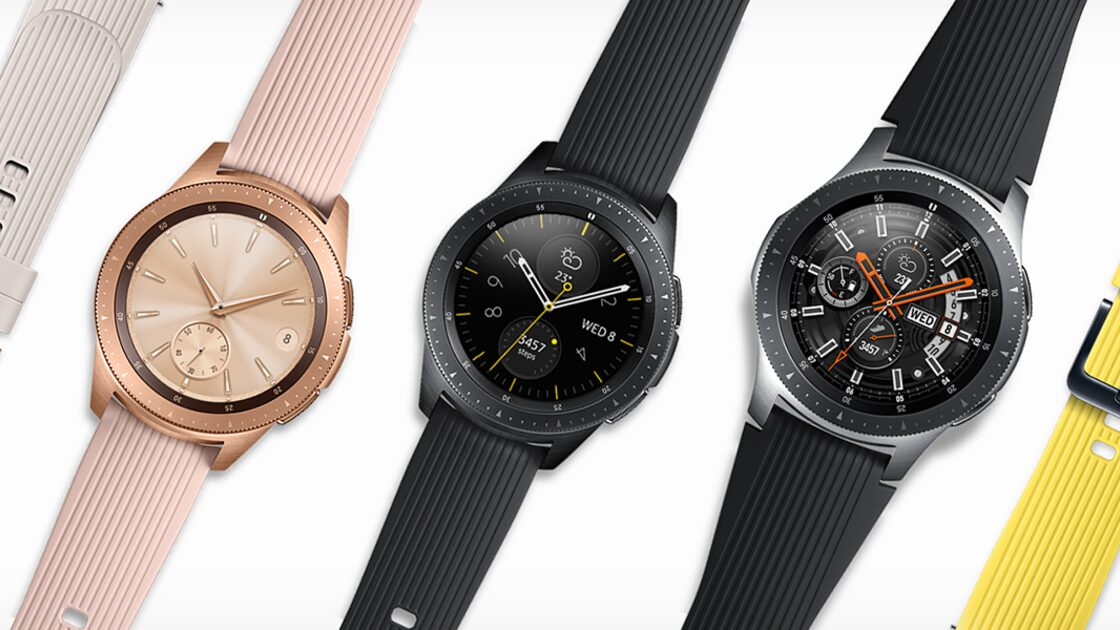 Samsung Galaxy Watches in pink and black