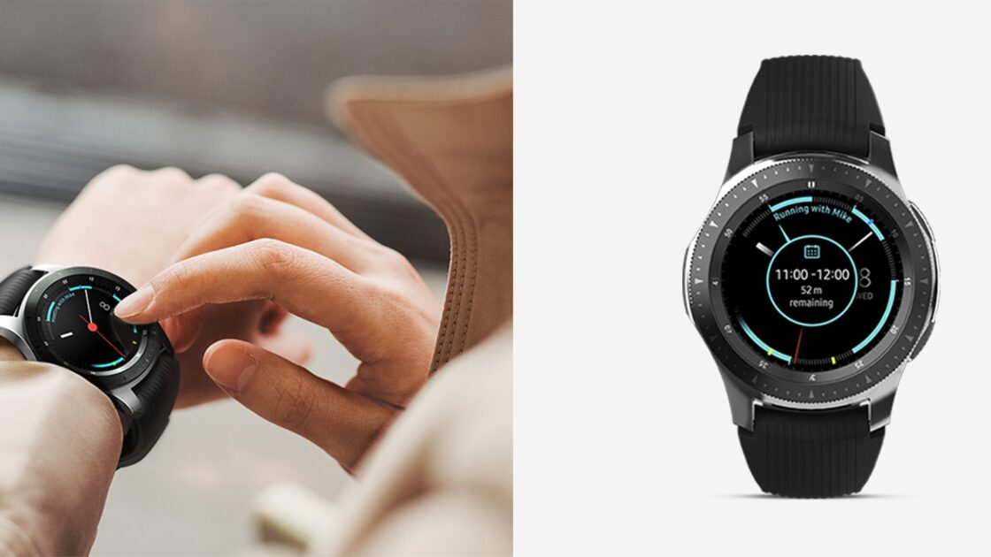 Samsung Galaxy Watch showing user their meeting times
