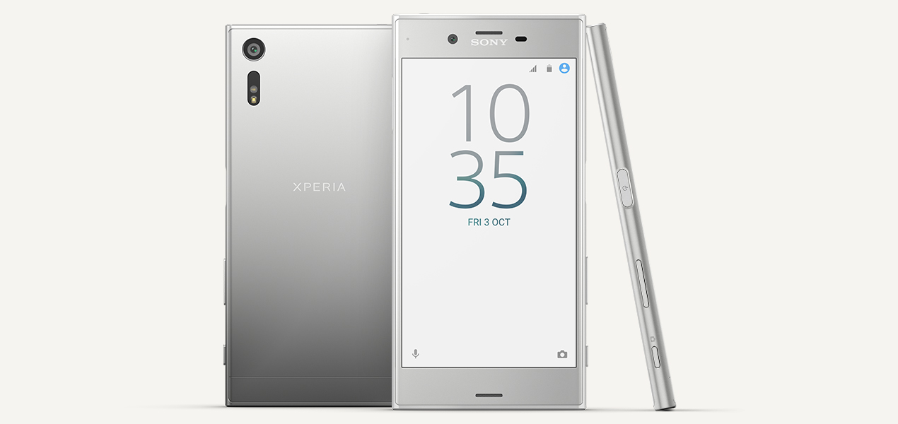 Sony Xperia XZ back, front and side view