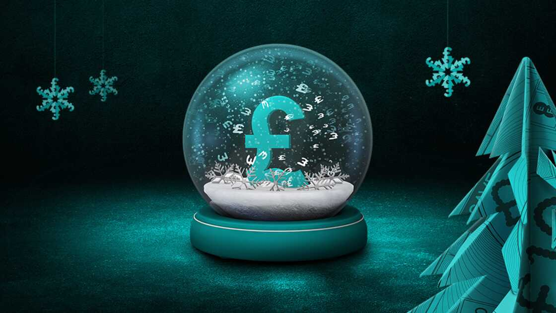 Pound sign in a snow globe on a Black & Aqua Background