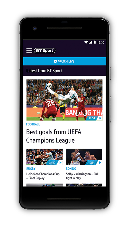 BT Sport app displayed on a smartphone