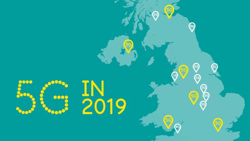 Map of United Kingdom showing EE's 5G rollout in 2019