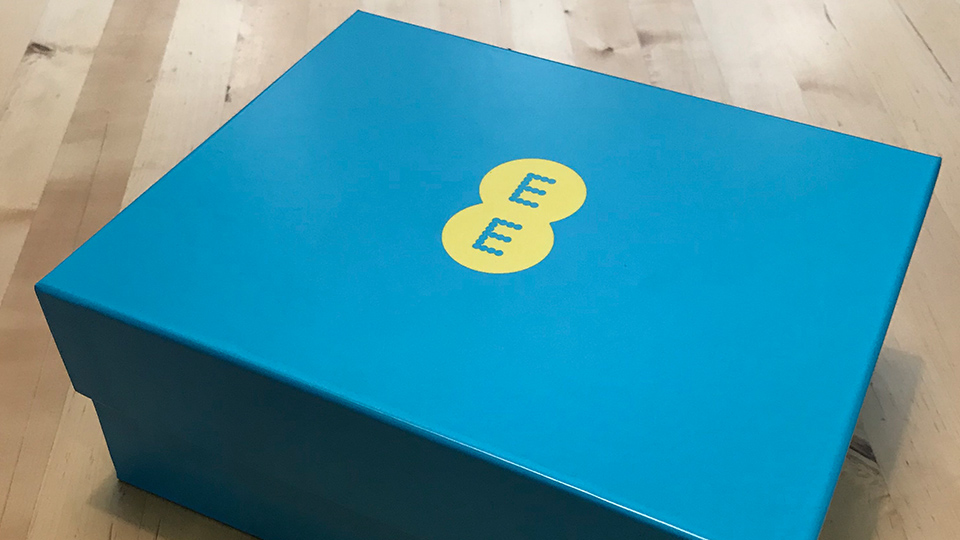 An EE box with the Galaxy Watch inside