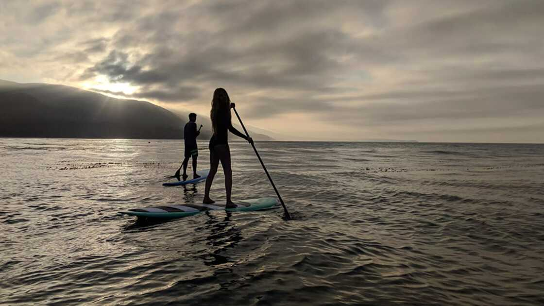 A man and a woman stand up paddleboarding as the sun sets
