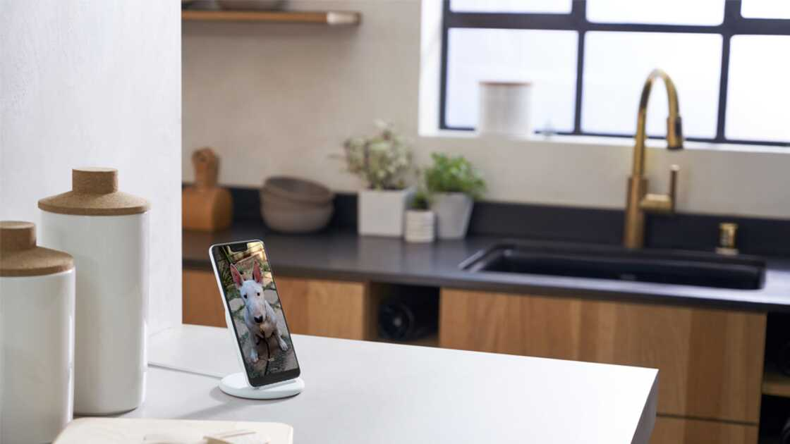 Google Pixel Stand on a kitchen table