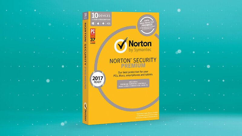 Norton Security Premium product box on aqua scoop background