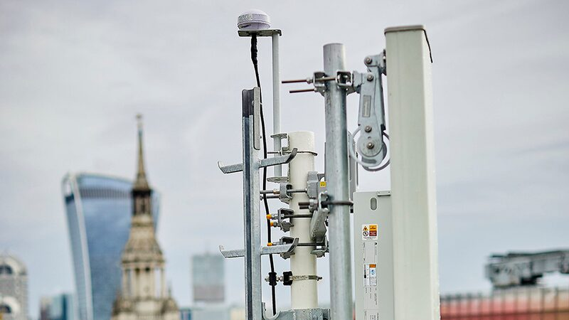 5G antenna on a rooftop in London.