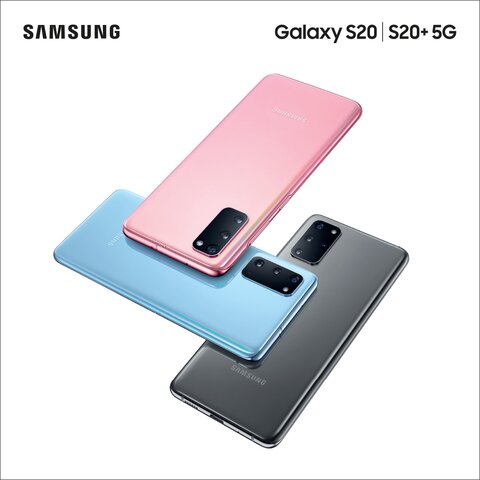 Samsung Galaxy S20 and S20+ in black, blue and pink facing downwards