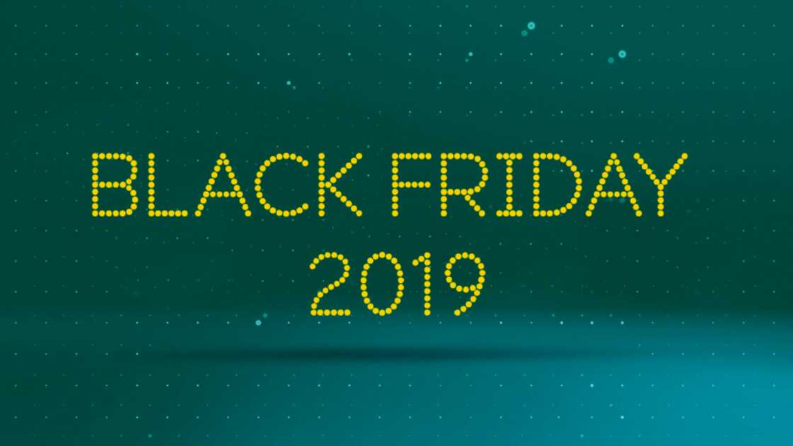 Black Friday 2019 on a balck and aqua background