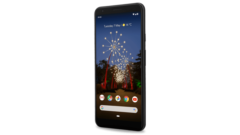 Front and rear detail views of Google Pixel 3a