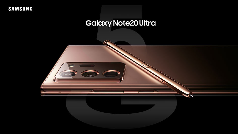Samsung Galaxy Note20 and SPen in Mystic Bronze