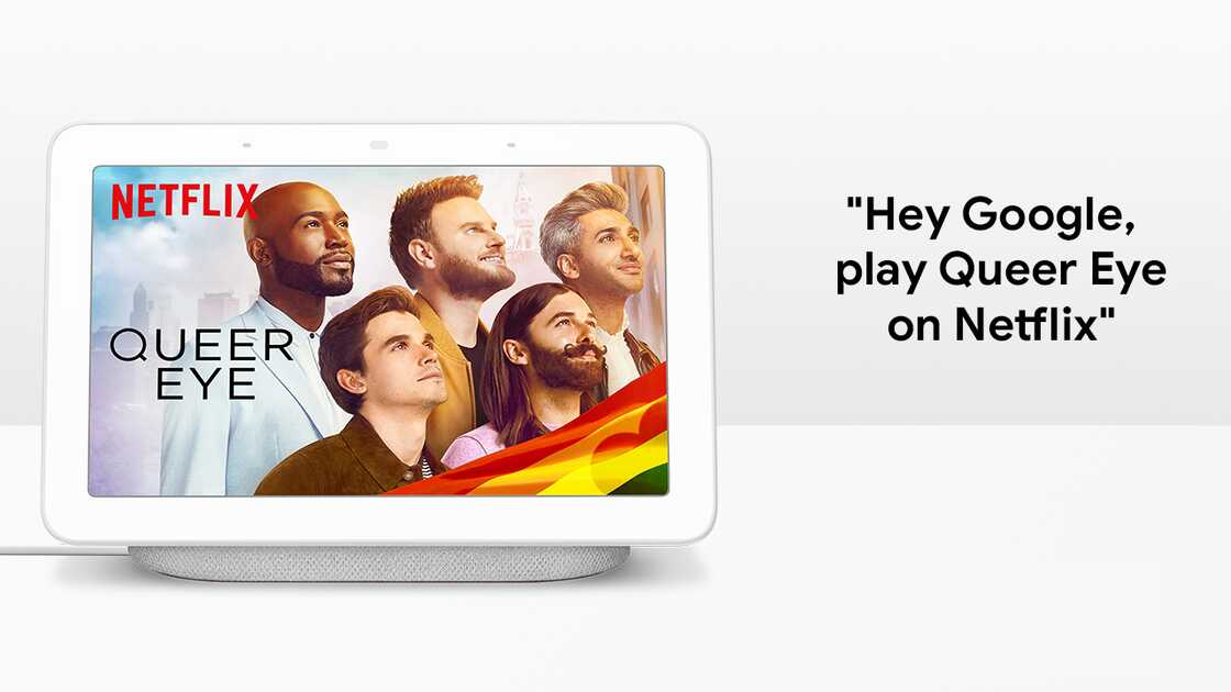 Netflix showing Queer Eye for the Straight Guy on the Google Nest Hub
