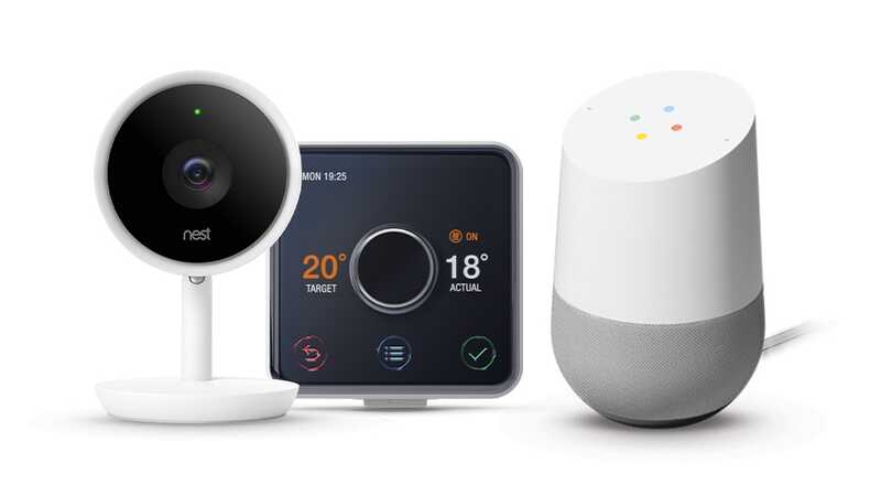 A nest camera, Hive thermostat and Google Home device