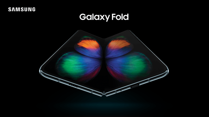 Samsung Galaxy Fold with butterfly image on screen
