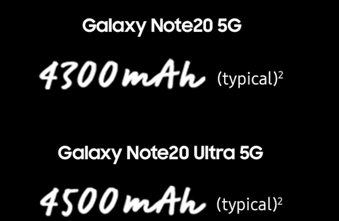 Note20 and Note20 Ultra battery comparison