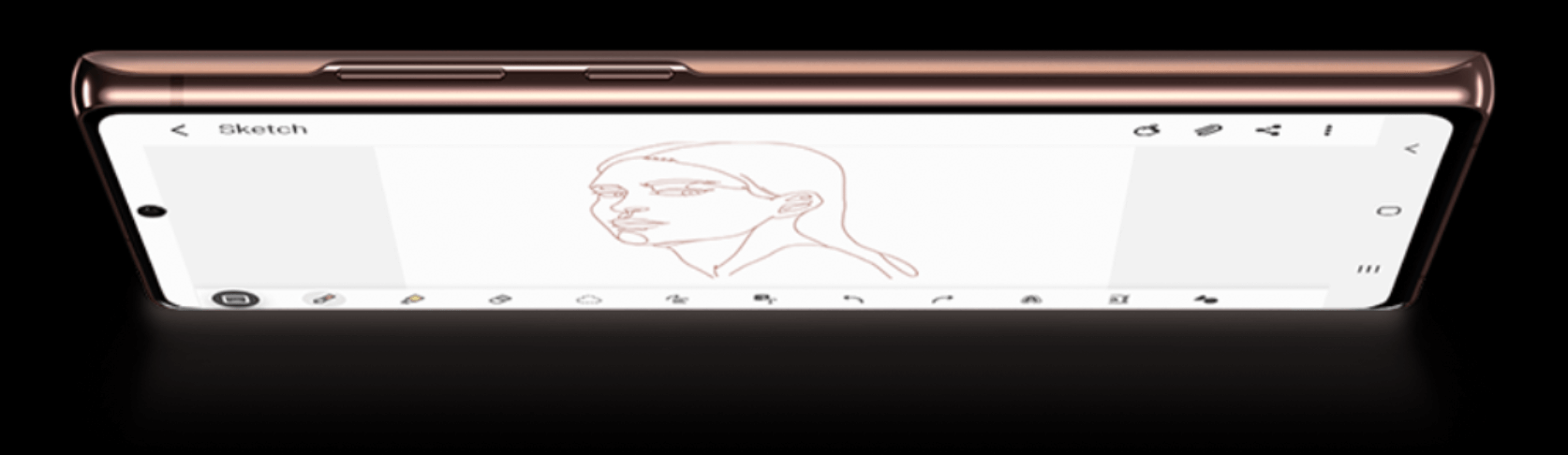 Side view of Samsung Galaxy Note20