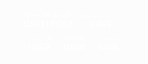 Samsung Galaxy S20 Ultra 5G 128GB gigabyte capacity comparisons
