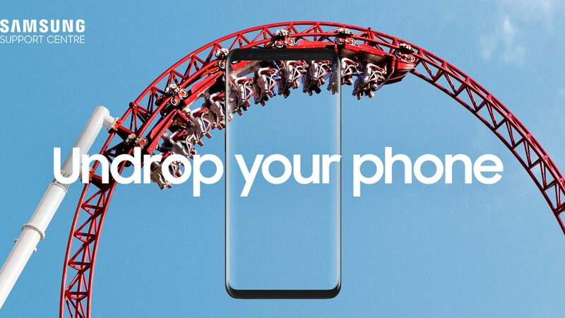 people riding a rollercoaster with 'Undrop your phone' copy and Galaxy smartphone image on top