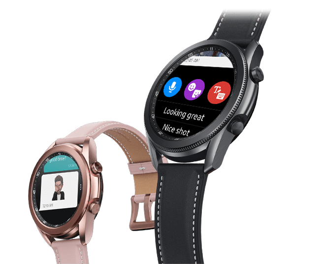 Two Samsung Galaxy Watch3 devices showing instant messaging
