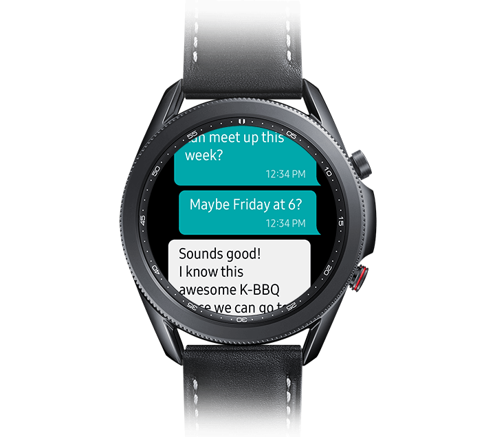 Samsung Galaxy Watch3 showing text messages