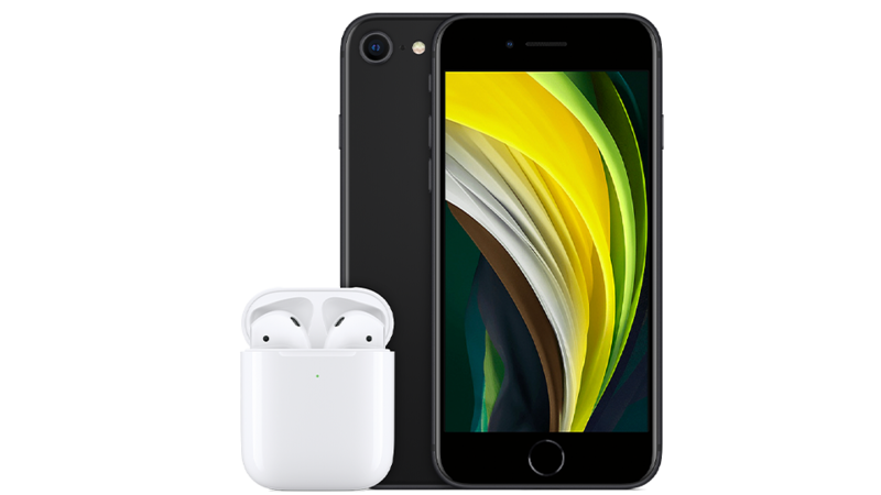 iPhone SE 64GB Black with AirPods