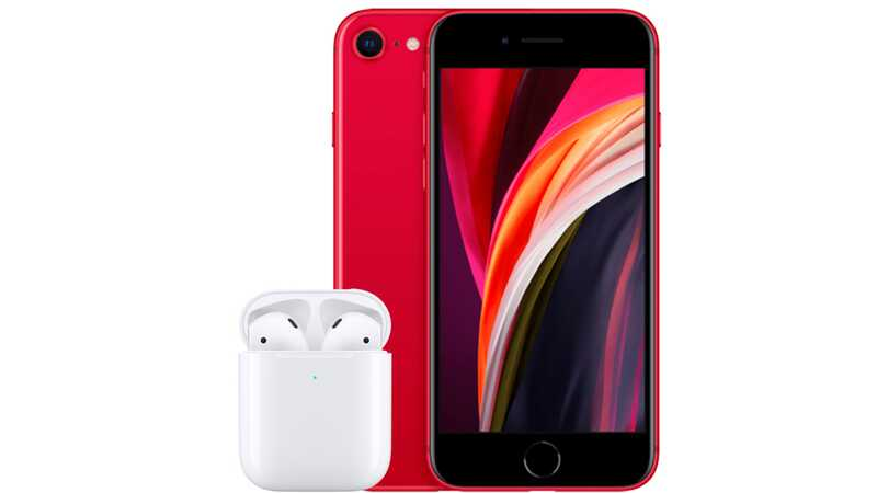 iPhone SE 64GB PRODUCT RED with AirPods