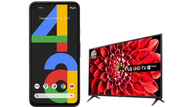 Google Pixel 4a in Just Black with 43-inch LG 4K Ultra HD TV