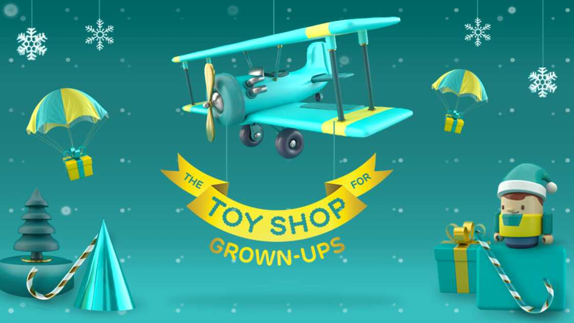 Toy airplane on an aqua background